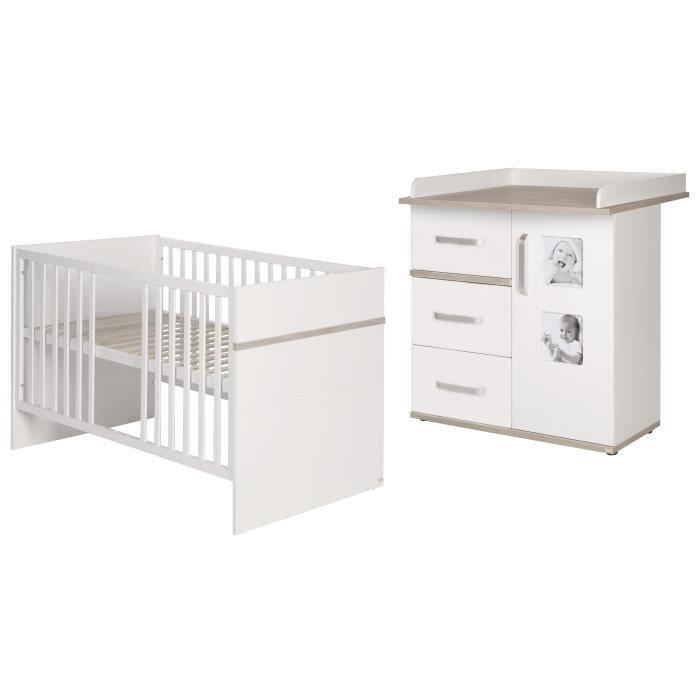 ROBA Ensemble de meubles bébé -Moritz- 2 pièces, lit combiné 70x140 cm + commode à langer blanc-beige