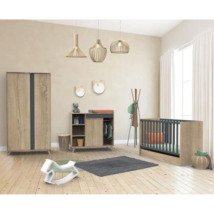 Chambre complete bebe Sauthon avec lit Nova Gris Volcan 140 x 70 cm évolutif en 90 x 200 et 140 x 200 cm