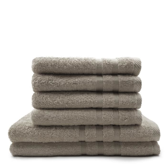 TODAY Lot de 4 Serviettes de bain 50 x 100 cm + 2 Draps de bain 70 x 130 cm Mastic - 100% coton TODAY