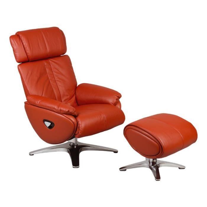 Fauteuil de relaxation Cuir Rouge + Pouf - VEGAS - L 84 x l 82 x H 109