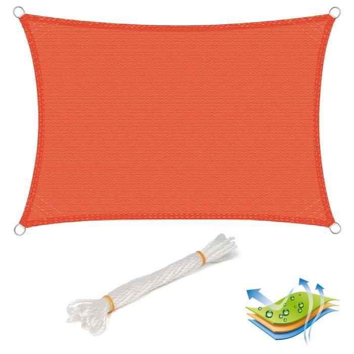 WOLTU Voile d'ombrage rectangulaire en HDPE,protection contre le soleil avec protection UV pour jardin,terrasse, 5x7m Terre Cuite