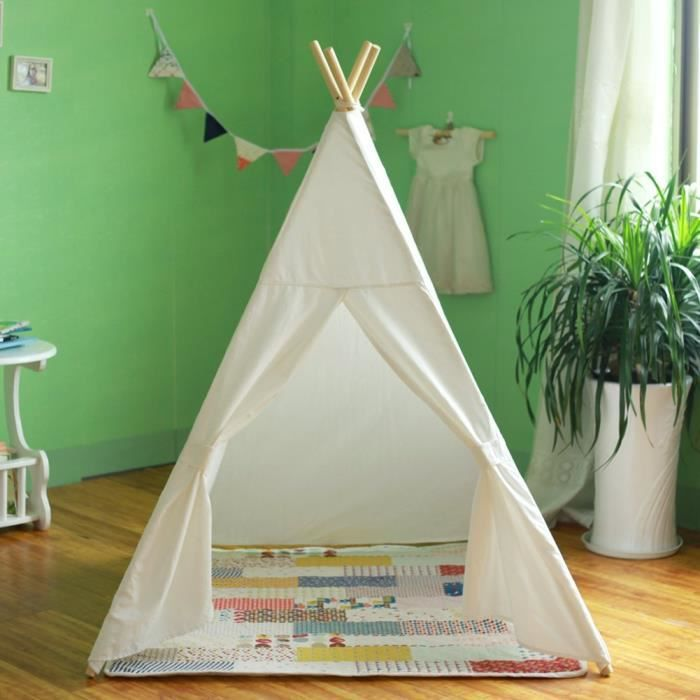 tent tipi teepee pour enfant avec textile blanc achat. Black Bedroom Furniture Sets. Home Design Ideas