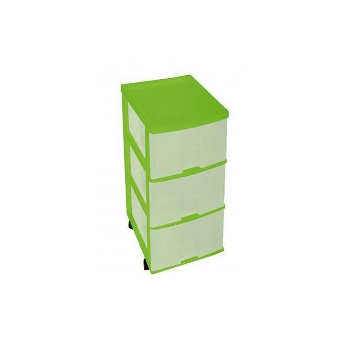 tour de rangement 3 tiroirs plastique vert anis roulettes box de rangement l 34 x l 26 x h. Black Bedroom Furniture Sets. Home Design Ideas