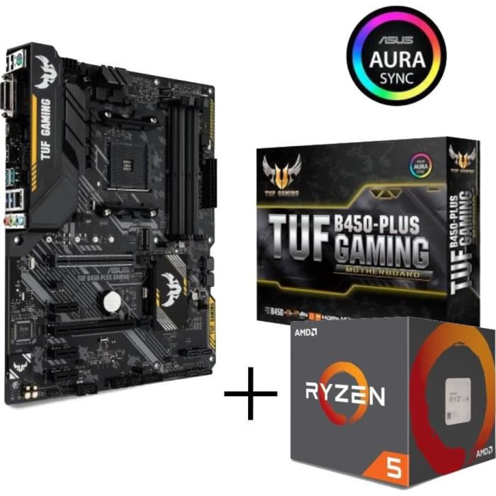 CARTE MÈRE Pack Carte Mère ASUS TUF B450-Plus Gaming + Proces