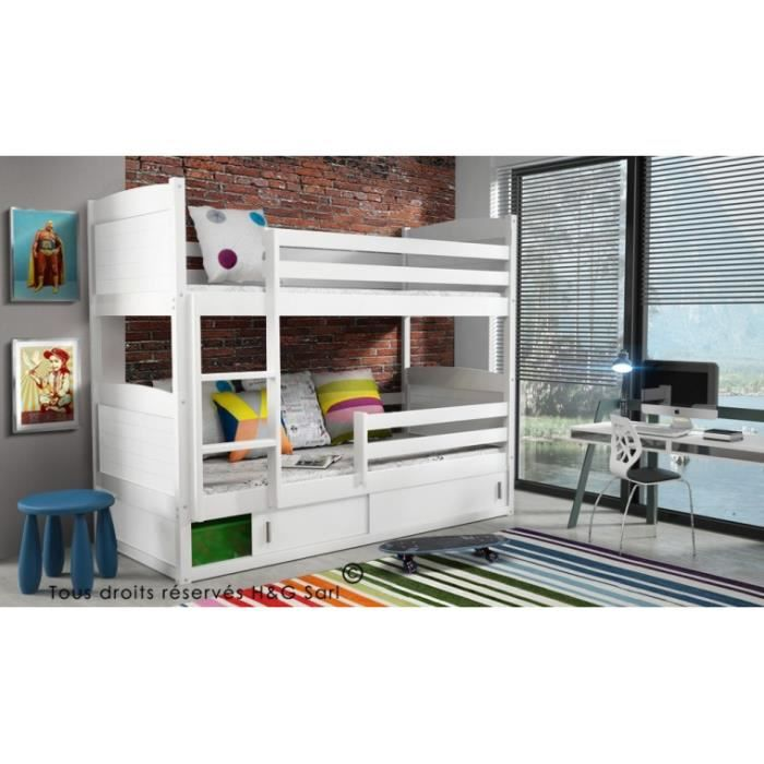 lit enfant superpose sasha en bois blanc blanc achat. Black Bedroom Furniture Sets. Home Design Ideas
