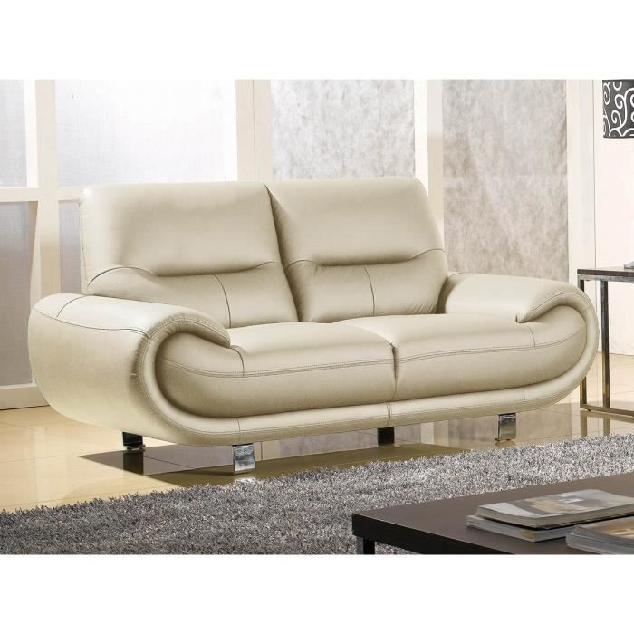 canap 2 places luxe angie cuir beige design achat vente canap sofa divan cdiscount. Black Bedroom Furniture Sets. Home Design Ideas