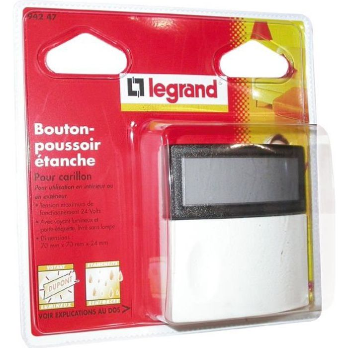 INTERRUPTEUR Bouton poussoir 24 V pour extérieur Legrand