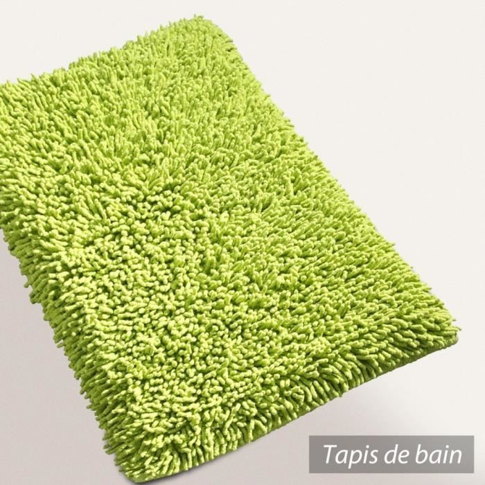 tapis de bain 50x80 cm chenille vert pistache 1 achat vente tapis de bain soldes d t. Black Bedroom Furniture Sets. Home Design Ideas