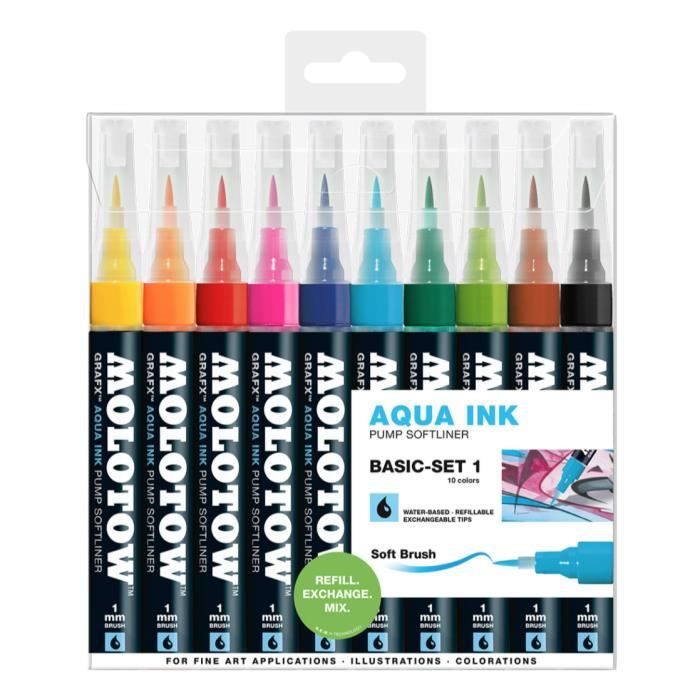 Photo de molotow-grafx-aqua-ink-pump-softliner-basic-set-1-marker