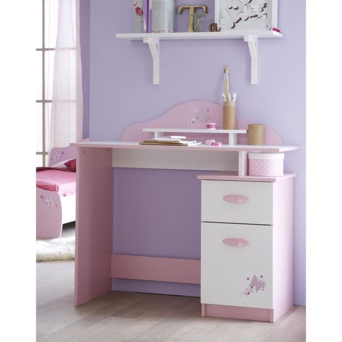 papillon bureau 1 tiroir 1 porte rose blanc achat. Black Bedroom Furniture Sets. Home Design Ideas