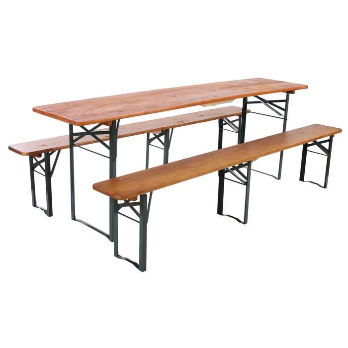 Lot de 2 bancs pliables avec la table bregenz achat for Table exterieur avec banc integre