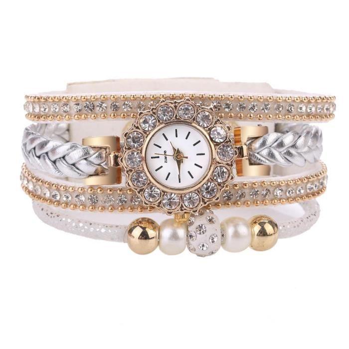 MONTRE Rétro Multicouche Perles Tressé Bracelet Femmes Ca
