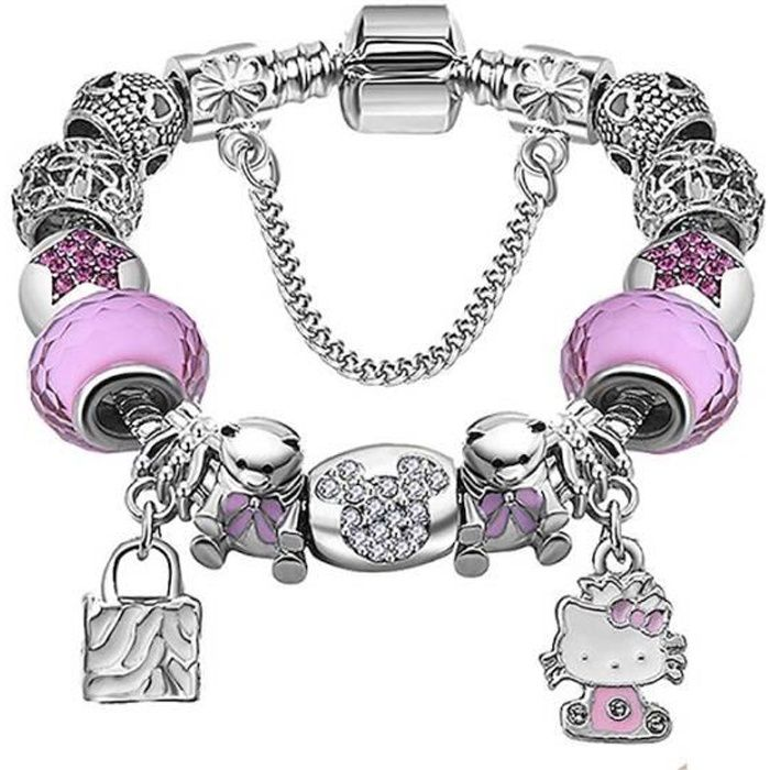 3645290af4ed Bracelet Charms Enfant Hello Kitty Style Pandora Swarovski Elements ...