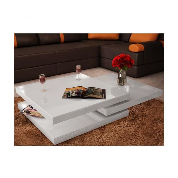 Superbe table basse blanc laqu carr e pivotante 3 - Table basse carree blanc laque ...