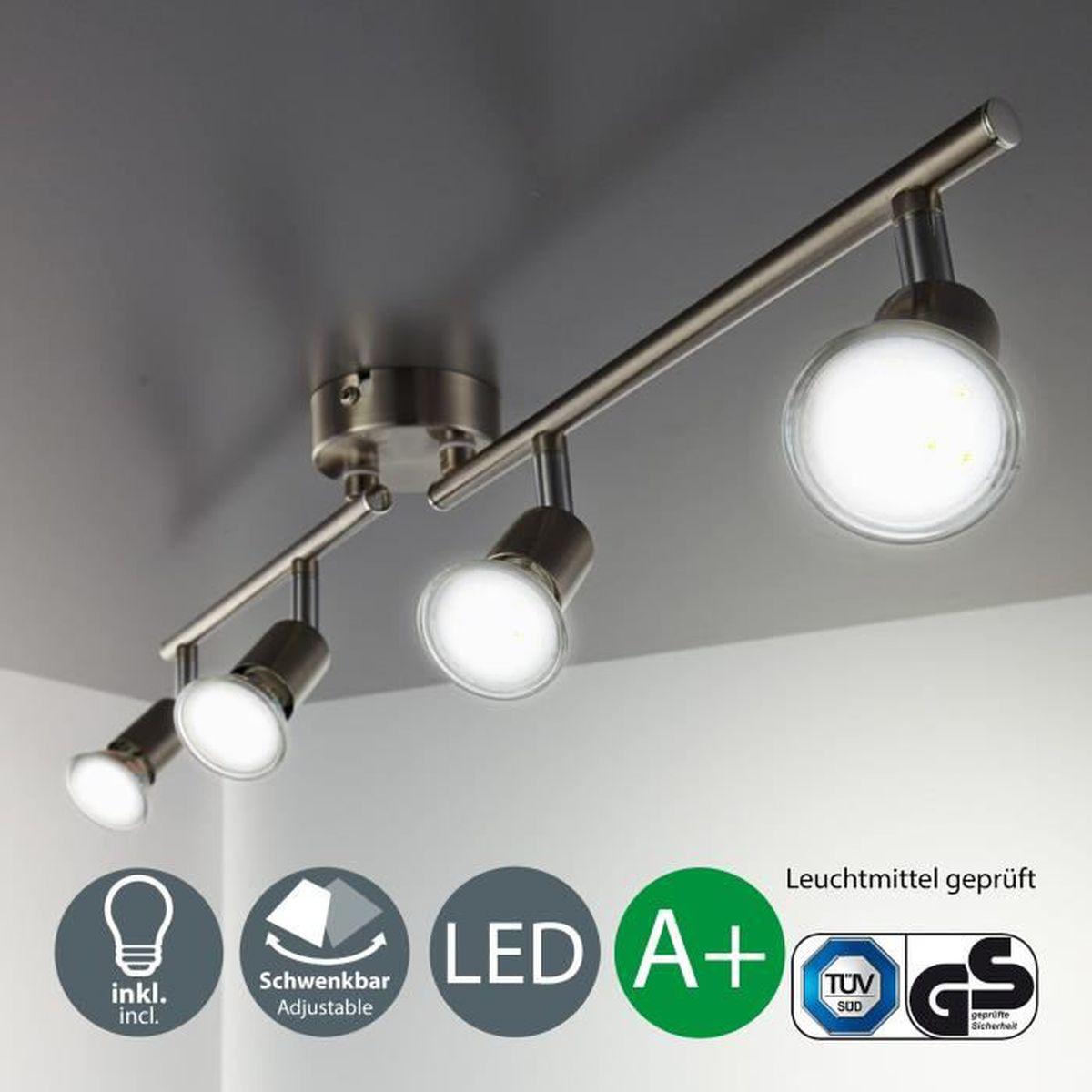 Lampe Plafond Salon Design plafonnier led 4 spots orientables, 4x3w, gu10, ip20, spots