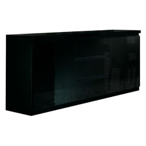 buffet salle a manger noir laque achat vente buffet. Black Bedroom Furniture Sets. Home Design Ideas
