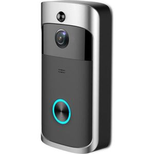Carillon de porte WiFi /étanche Vid/éo Smart Sonnette R/écepteur 720p sans fil Interphone Alarme IR Vision nocturne Cam/éra IP D/étection//Argent