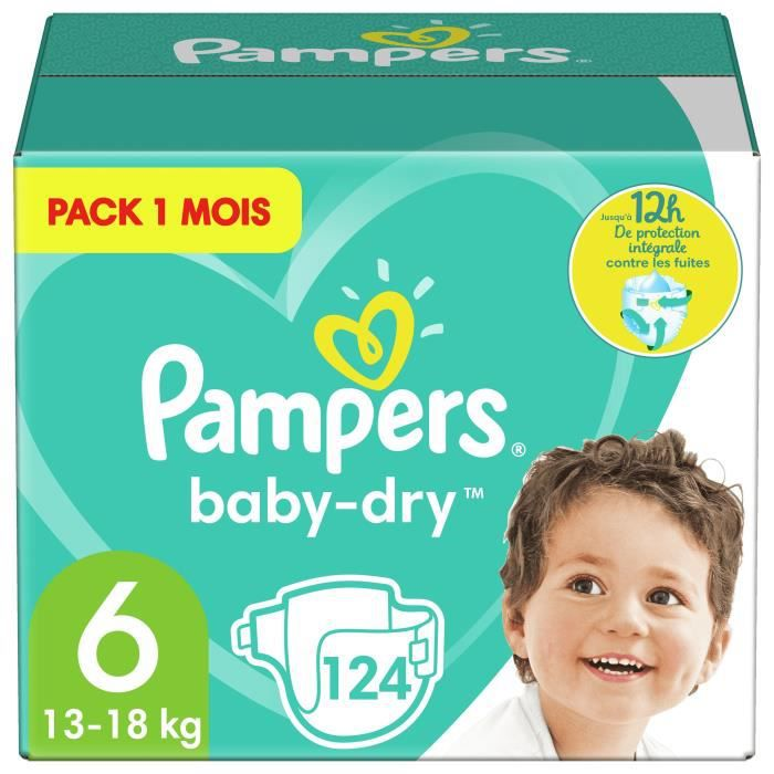 COUCHE PAMPERS Baby Dry Taille 6 - dès 15 kg - 124 couche