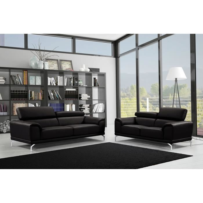 Ensemble canapé design contemporain 3+2 en simili cuir noir