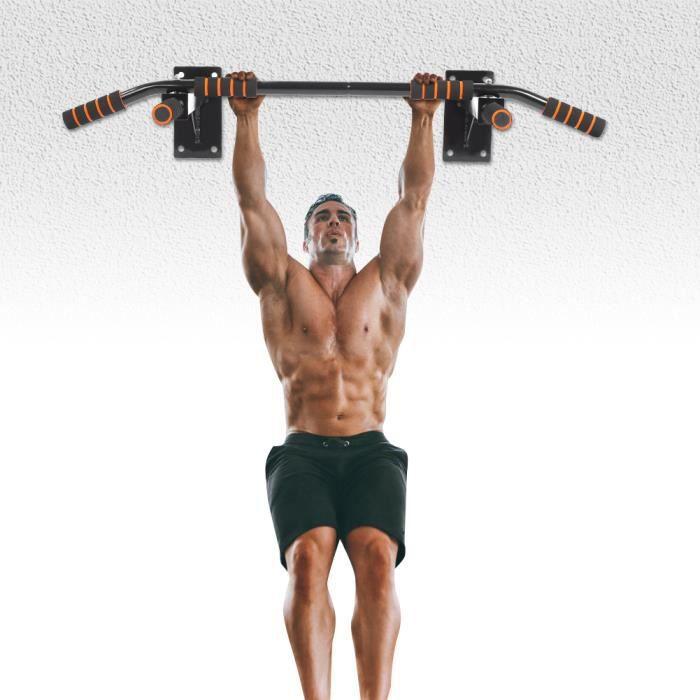 Barre de Traction à Montage Mural Barre d'appartement Barre d'Exercice de Traction Gym Entraineur HB019 -QUT