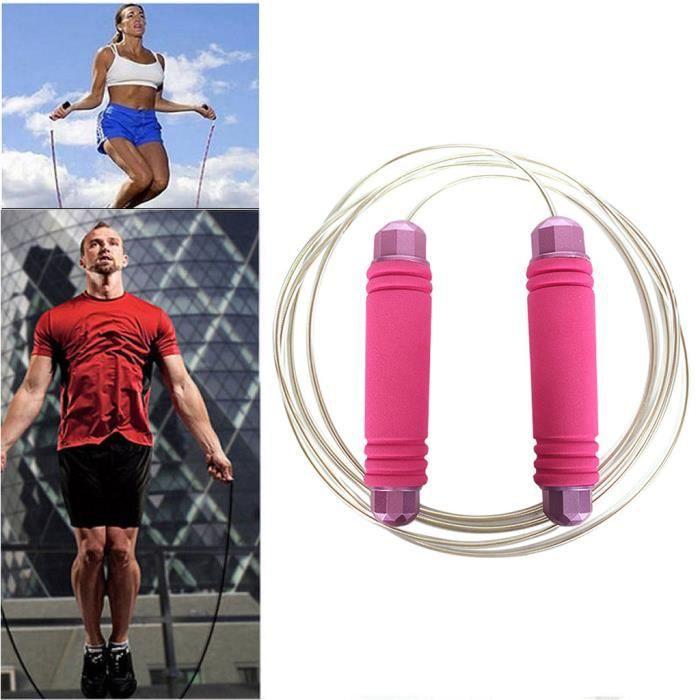 Corde à sauter à vitesse réglable avec corde à sauter, roulement à billes à corde confortable fit4670
