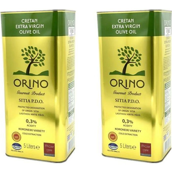Lot 2x Huile d'olive crétoise extra vierge AOP - ORINO - bidon 5 litres