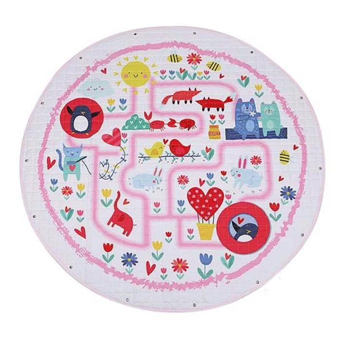 Tapis d'éveil,Tapis ronds bébé tapis de jeu jouets organisateur de stockage pépinière tapis grand polyester - Type Drawstring-150cm
