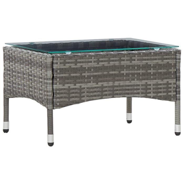 BEAU-Table basse de jardin, Table d'extérieur ,Table de balcon Gris 60x40x36 cm Résine tressée3407