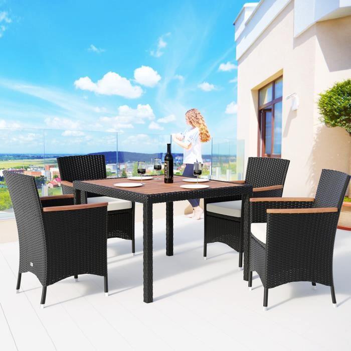 Deuba - Salon de Jardin • Ensemble 4+1 - Noir, polyrotin - 4 chaises empilables + Table avec plateau en Bois d´Acacia