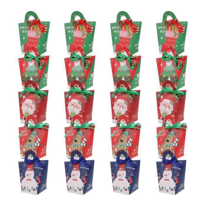 1 Ensemble de boîtes de bonbon de Noël avec des rubans de portant boîtes-cadeaux (couleur bonbons cremeux confiserie chocolat