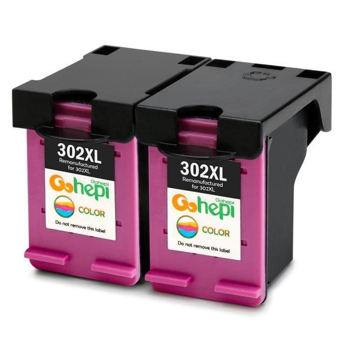 Gohepi 302XL Compatible pour Cartouches HP 302 XL Tri-couleur Pack de 2 Travailler avec HP ENVY 4520 4525 OfficeJet 3830 3831 3832