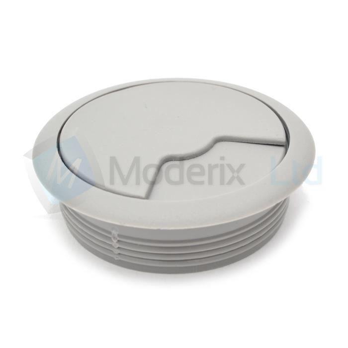 Passe cable passe fil plastique en gris design diamètre 60mm