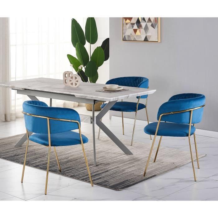 Ensemble Salle à Manger Design - Table à Manger Aspect Marbre Blanche + 4 Chaises Bleues - Style Contemporain - Table Extensible