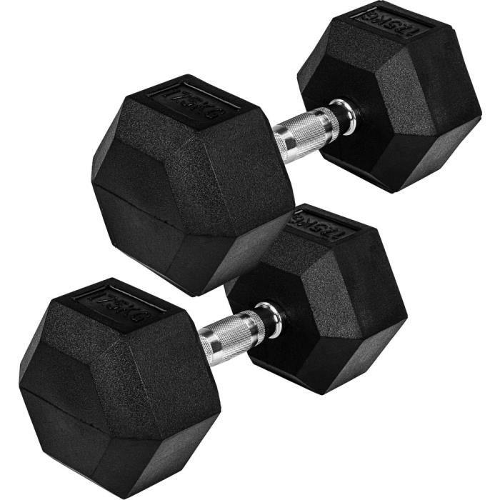 Movit® haltère hexagonal, Dumbbells en fonte avec revêtement caoutchouc, 2x17,5 kg, barre chromée, moletée et antidérapante