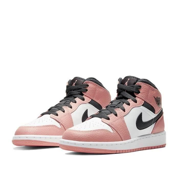 Nike Air Jordan 1 Mid Femme Jordan One Pink Quartz Chaussures de Basket Pas Cher pour Fille Femme Sneakers