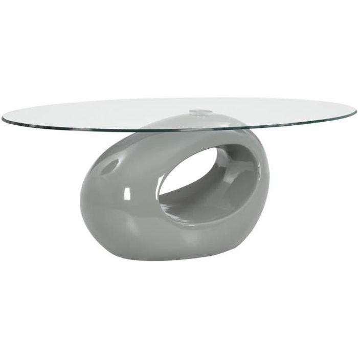 Table basse design scandinave salon contemporain avec dessus de table en verre ovale Gris brillant