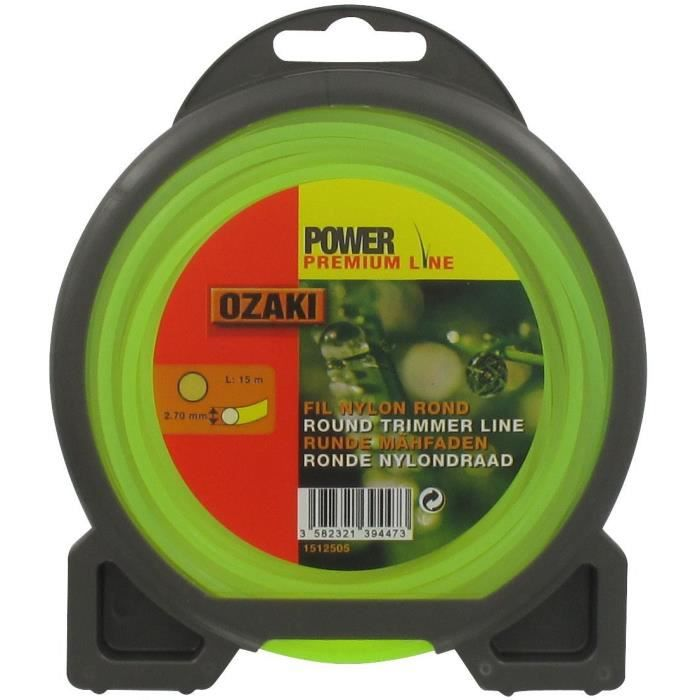 JARDIN PRATIQUE Fil nylon rond premium line OZAKI pour débroussailleuse - Ø 2,7 mm - L 15 m