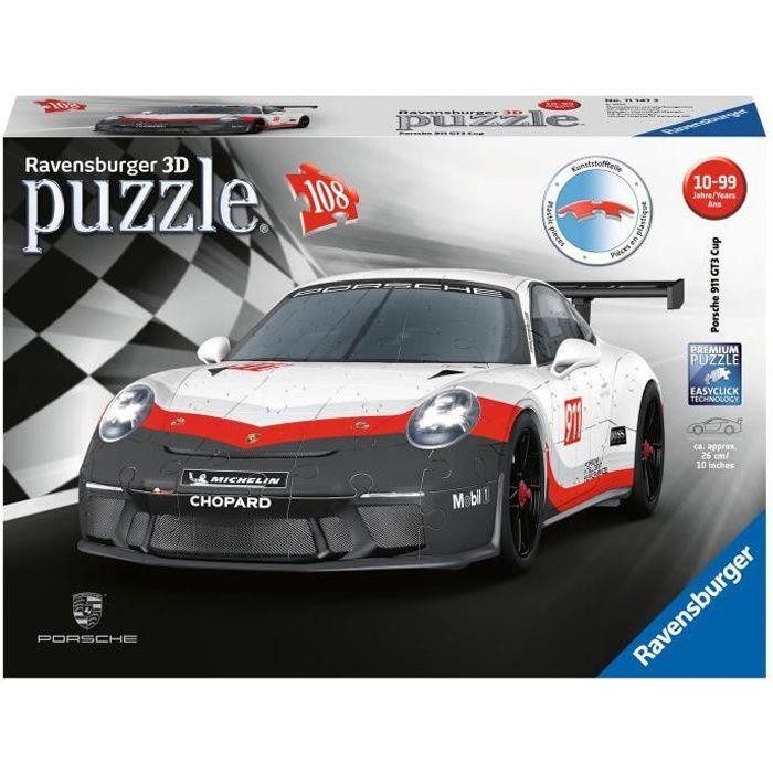 PORSCHE Puzzle 3D 911 GT3 Cup - Ravensburger - Véhicule 108 pièces - sans colle - Dès 8 ans