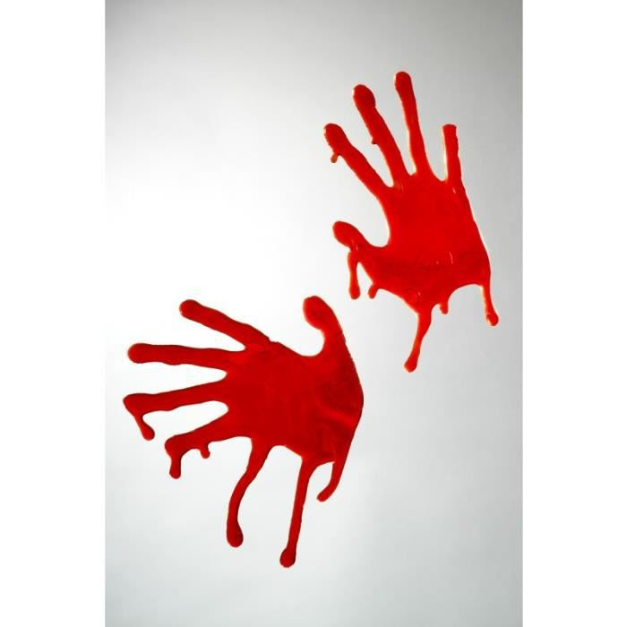 Déco empreintes de mains ensanglantées halloween horreur