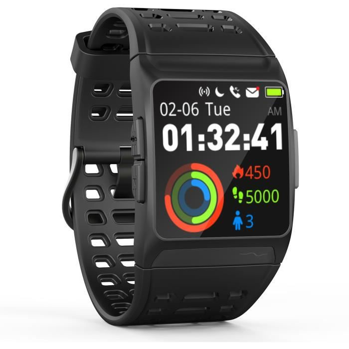 WEE PLUG Explorer 3s Montre Connectée - GPS - Cardio - Bluetooth - Multisports - IP68 - Noir