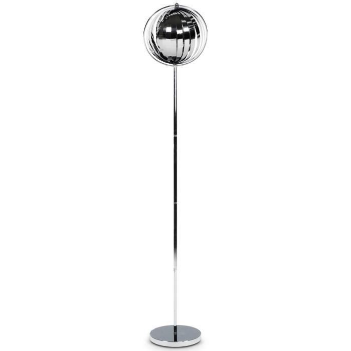 LAMPADAIRE Lampadaire design 'LUNA' chrome avec lamelles f...
