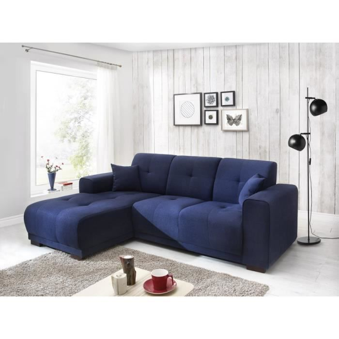 canape d 39 angle lisbona fixe gauche bleu marine achat vente canap sofa divan cdiscount. Black Bedroom Furniture Sets. Home Design Ideas
