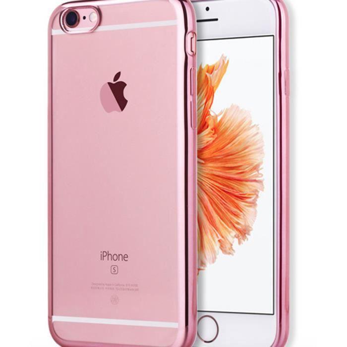 coque iphone 5 5s silicone contour rose etui hous