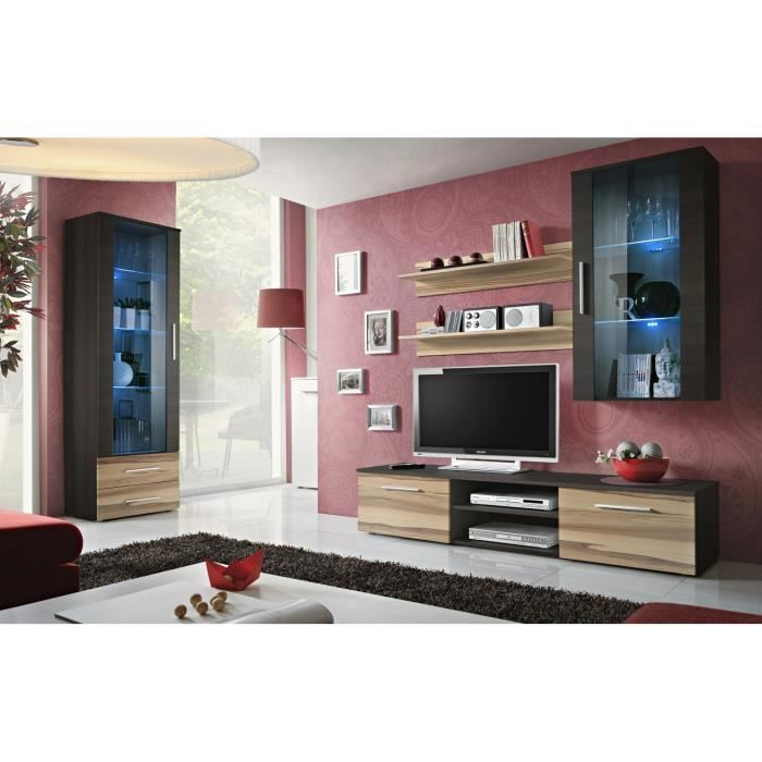 Meuble de salon tv gali f complet design led achat vente salon complet - Meuble salon complet ...