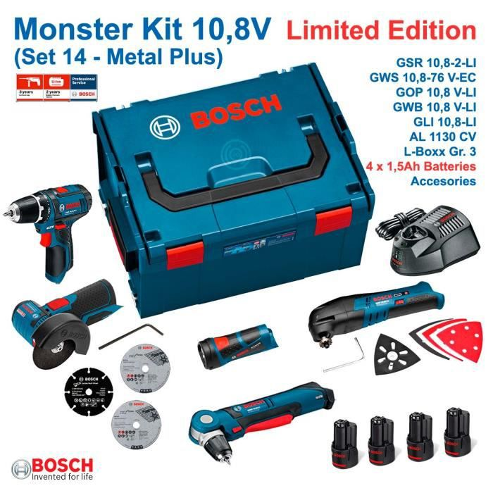 bosch monster kit 10 8v set 14 metal gsr 10 8 2 li gws 10 8 76 v ec gop 10 8 v li gwb. Black Bedroom Furniture Sets. Home Design Ideas