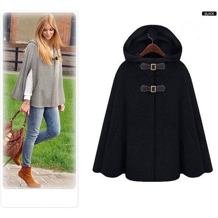 Manteau Veste Cape Femme Cool Style D Contract Noir Achat Vente Manteau Caban Cdiscount