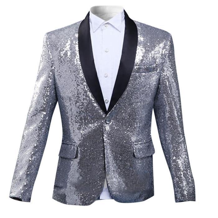 Veste de Costume Homme de Paillettes /él/égant Habit Blazer c/ér/émonie