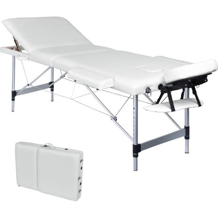 Table De Massage Pliante Portable 3 Zones En Aluminium Blanc