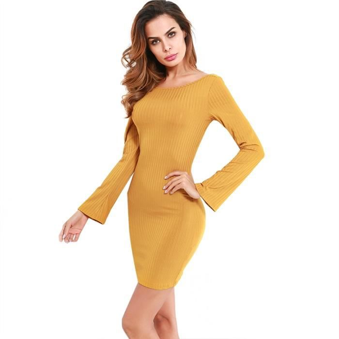 Femmes Sexy Backless Ensemble robe de la hanche, Golden