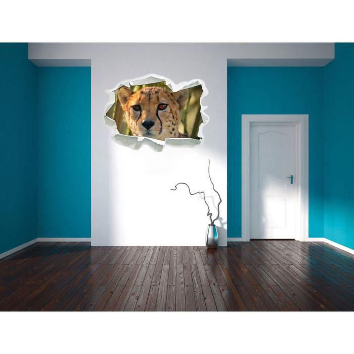 Deco Jungle Chambre Adulte jeune gu�pard dans la jungle, papier 3d sticker mural taille: 92x67 cm  d�coration murale 3d stickers muraux stickers